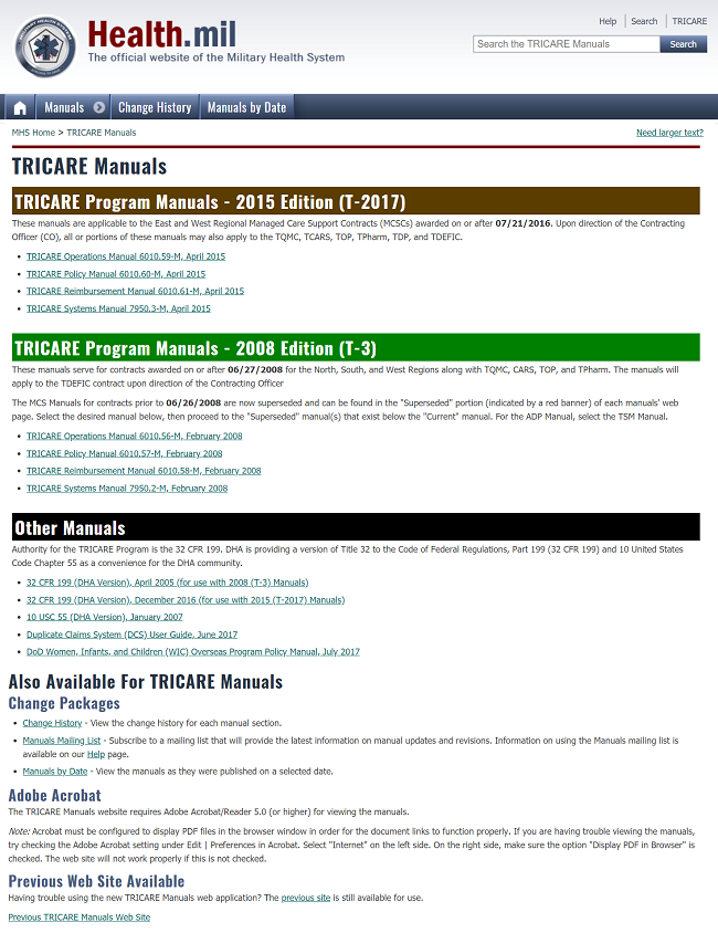 Main TRICARE Manuals Page